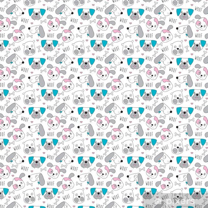 Papel de parede em vinil à sua medida Teste padrão do cão Seamless - ilustração do vetor - Animais