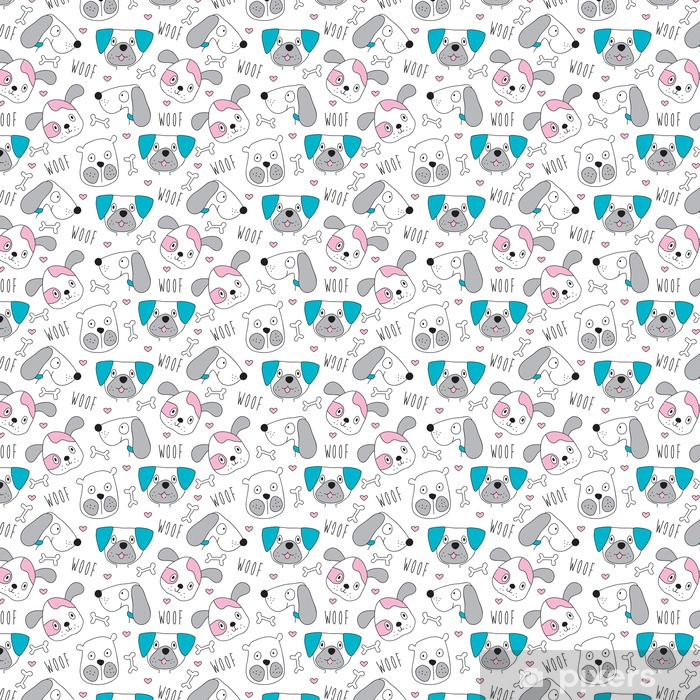 seamless dog pattern vector illustration Vinyl Wallpaper - Animals