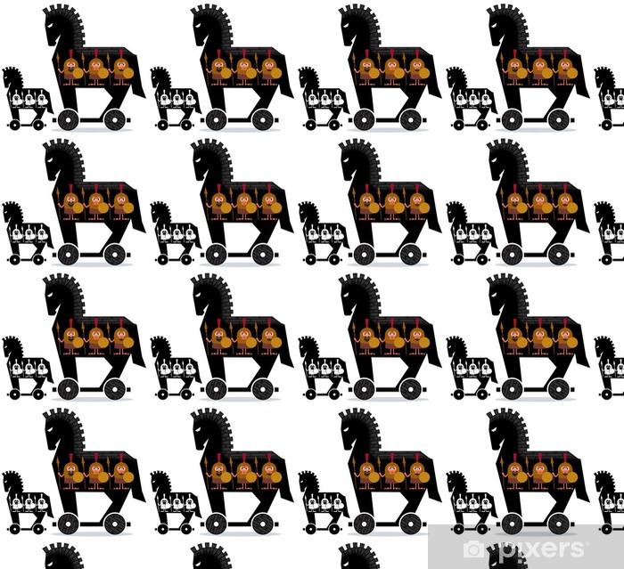 Vinyltapete nach Maß Trojanisches Pferd / Cartoon Trojanisches Pferd mit griechischen Soldaten in es in zwei Versionen. - Menschen