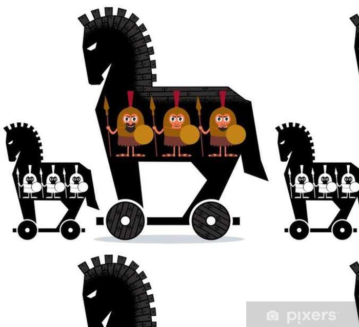 Troijalainen hevonen / sarjakuva troijalainen hevonen ja kreikkalaiset sotilaat siinä 2 versiossa. Vinyylitapetti - Ihmiset