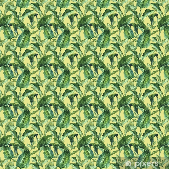 Watercolor Seamless Background with Tropical Leaves Vinyl custom-made wallpaper - Plants and Flowers