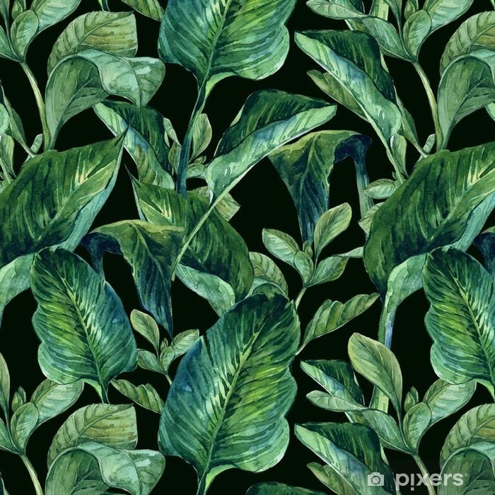 Vesiväri saumaton tausta trooppisia lehtiä Itsestäänkiinnittyvä tapetti -