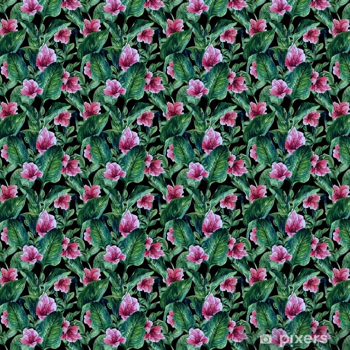 Vinyl behang, op maat gemaakt Naadloze achtergrond met tropische bladeren - Bloemen en Planten