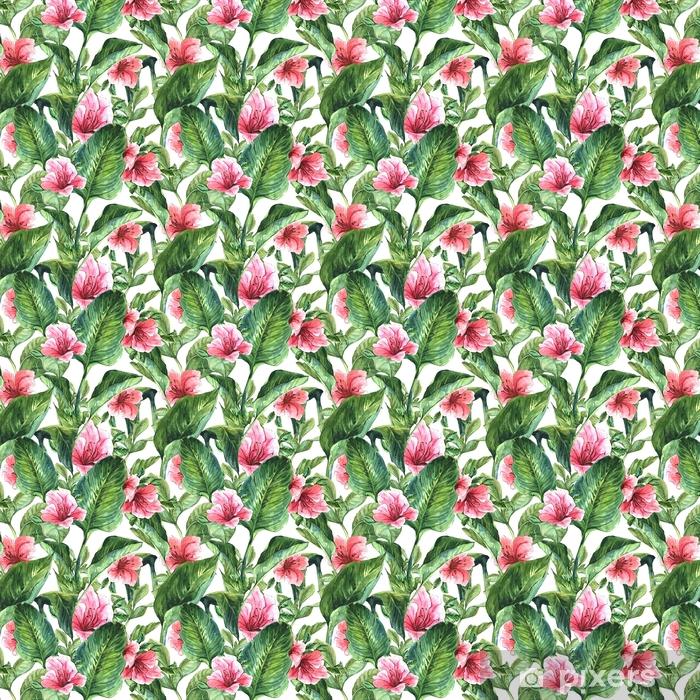 Tapeta na wymiar winylowa Bezszwowe tło z tropikalnymi liśćmi - Rośliny i kwiaty