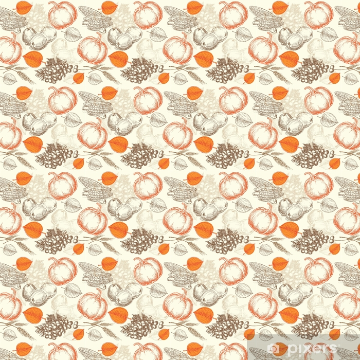 seamless pattern vegetables Thanksgiving Day Self-adhesive custom-made wallpaper - Food