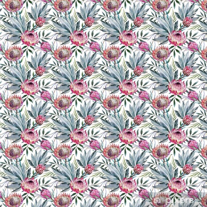 Vinyl behang, op maat gemaakt Raster tropisch protea patroon - Bloemen en Planten