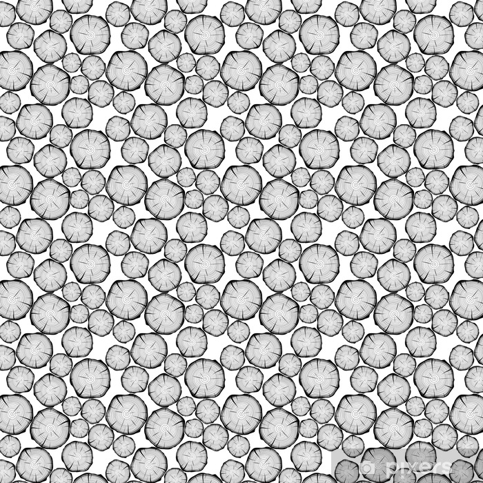 Vinyl behang, op maat gemaakt Naadloos patroon met boomringen. vector achtergrond - Grafische Bronnen