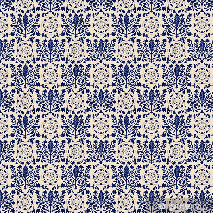 Vector seamless damask pattern, classic walpapper, background Vinyl custom-made wallpaper - Graphic Resources