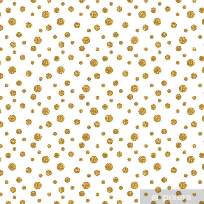 Spesialtilpasset vinyltapet Prikker sømløs mønster med gylden glitter tekstur - Grafiske Ressurser
