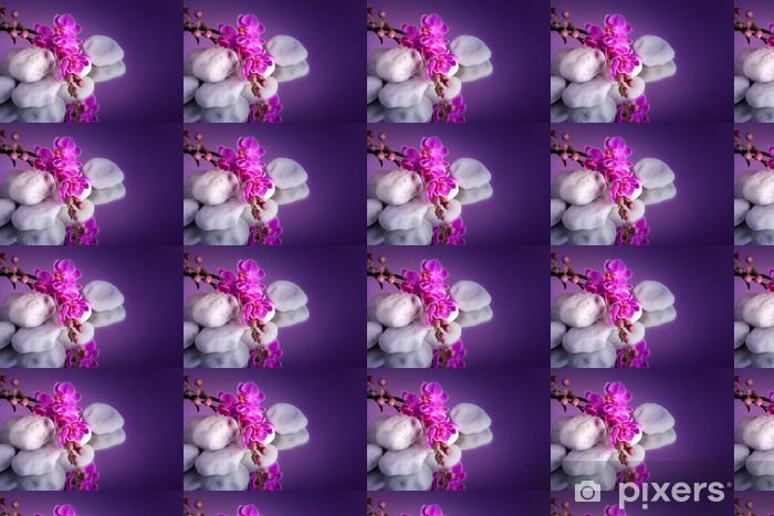 Vinyltapete nach Maß Orchidea con Pietre bianche su specchio - Blumen