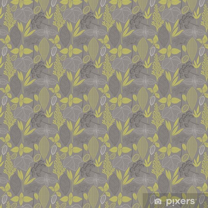 Papel pintado estándar a medida Modelo inconsútil floral abstracto. Vector de fondo __with diferentes hojas - Plantas y flores