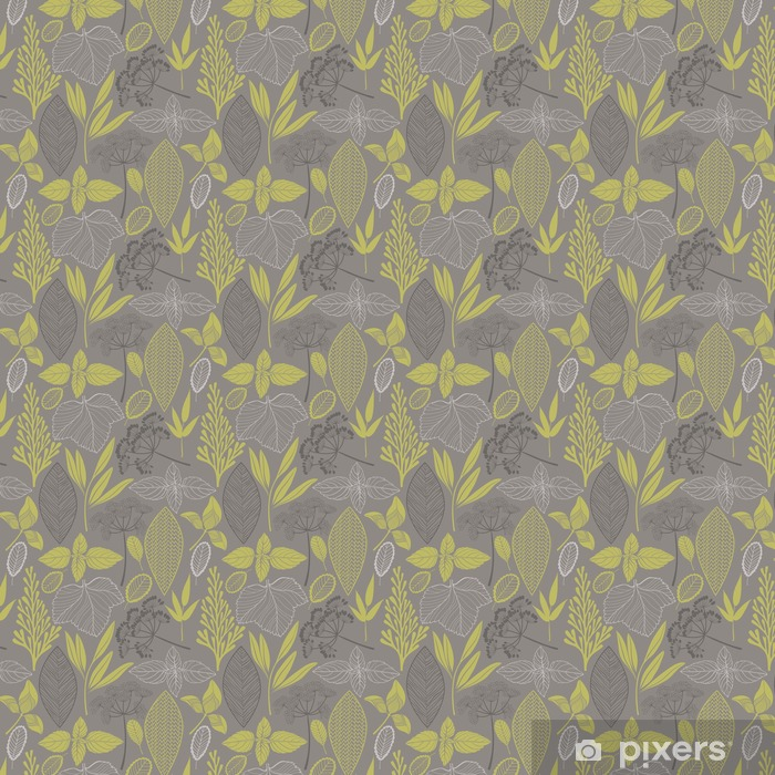 Måttanpassad vinyltapet Abstrakt blom seamless. Vektorbakgrund __with olika blad - Växter & blommor