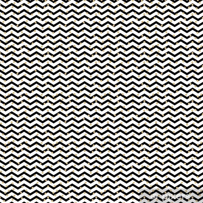 Spesialtilpasset vinyltapet Chevron Zigzag svart og hvitt sømløs mønster med gyldne glimmerpolka prikker - Grafiske Ressurser