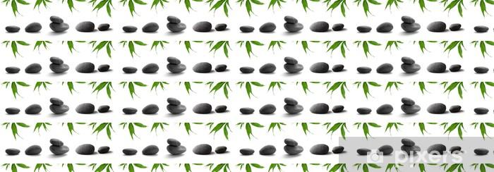 Vinylová tapeta na míru Zen-jako kameny. oblázky a listy bambusu na bílém pozadí - Náboženství