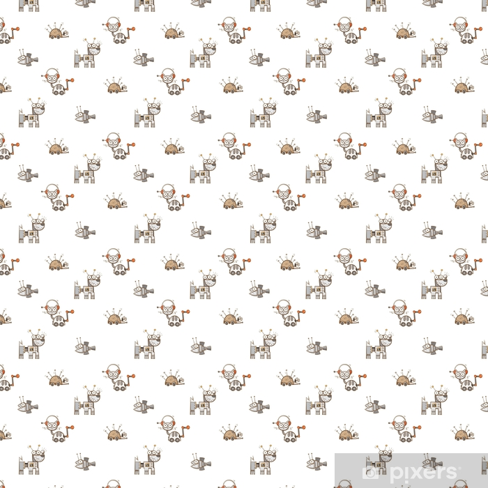 Vector seamless pattern with cartoon cats, dogs, hedgehogs and fishes robots on white background. Vinyl custom-made wallpaper - Animals
