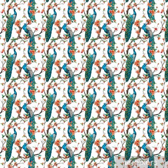 Papel pintado estándar a medida Acuarela vector patrón del pavo real - Animales