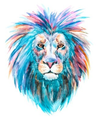 Muursticker Watercolor vector leeuw