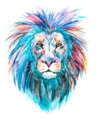 Akvarel vektor løve Vægklistermærke