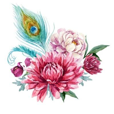 Akvarel blomster sammensætning Vægklistermærke