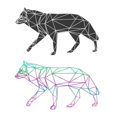 Abstract geometric wolf set isolated on white background Wall Decal
