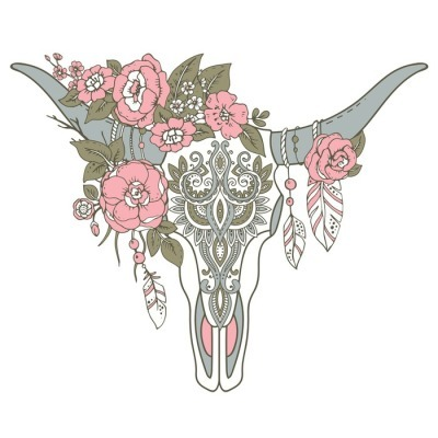 Decorative Indian bull skull with ethnic ornament, flowers and l Wall Decal