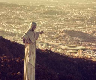 Aerial view of Christ Statue looking at Maracana Stadium Framed Poster