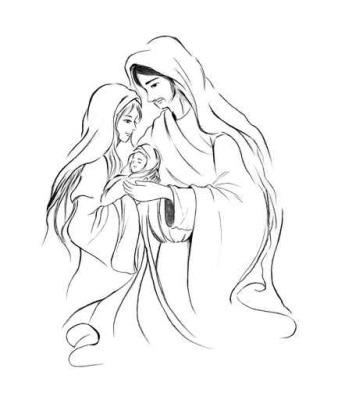 wandtattoo baby jesus maria und josef in abstrakte linie kunstzeichnung auf weißem hintergrund