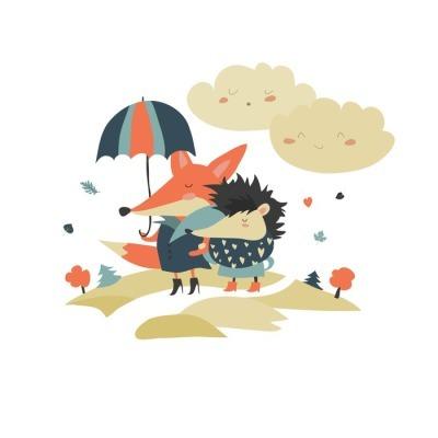 Naklejka na ścianę Śliczne lis i jeż spacery pod parasolem
