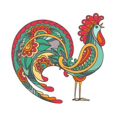 Muursticker Kleurrijke hand getrokken vector illustratie van vurige haan