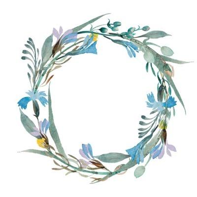 Muursticker Romantisch krans van blauwe bloemen geschilderd in aquarel