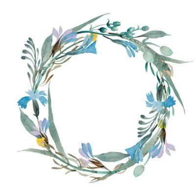 romantic wreath of blue flowers painted in watercolor Wall Decal