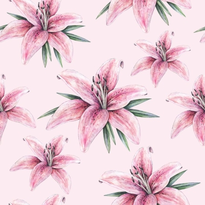 Pink Lily Flowers Isolated On Pink Background Watercolor Handwork Illustration Drawing Of Blooming Lily With Green Leaves Seamless Pattern With Lilies For Design Throw Pillow Pixers We Live To Change