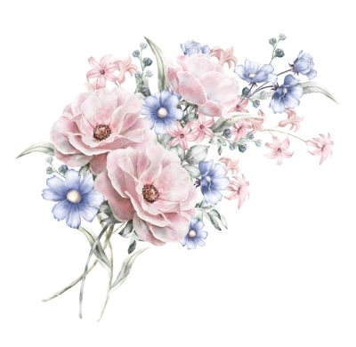 Watercolor Flowers Floral Illustration In Pastel Colors Rose Bunch Of Pink Blue Flowers Isolated On White Background Herbs Leaf Cute Composition For Wedding Or Greeting Card Romantic Bouquet Body Pillow Pixers