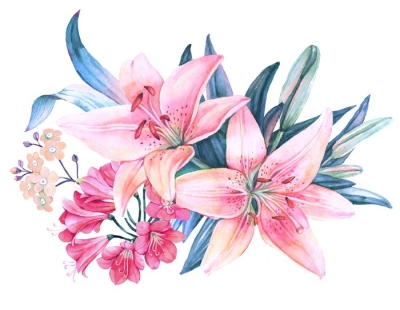 Pink Lily Flower Watercolor Bouquet Pillow Cover Pixers We Live To Change