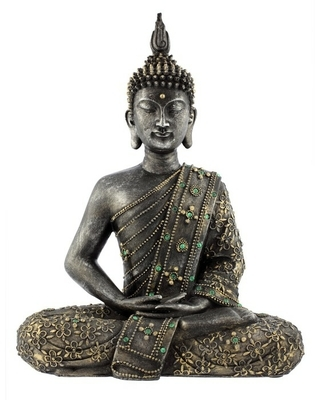 Muursticker Bouddha statue de bronze zen