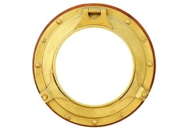 Naklejka na ścianę Okrągły mosiądz złoty łodzi samodzielnie okno