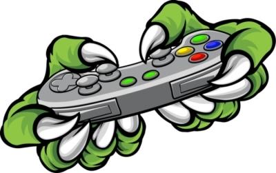 Sticker mural Griffes de joueur monstre tenant le contrôleur de jeux