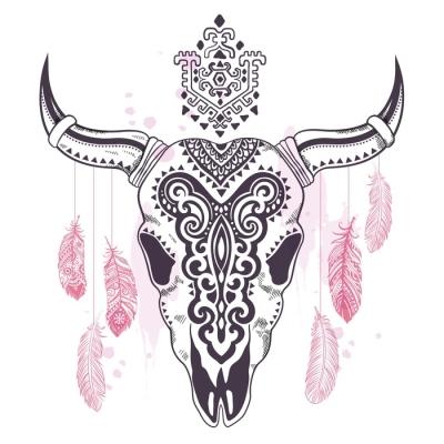 Heimojen eläinten kallo kuva etnisten koristeiden kanssa Seinätarra