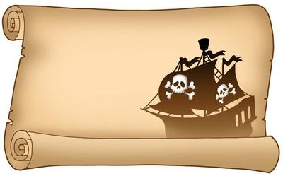 Cojín decorativo Pergamino con la silueta del barco pirata