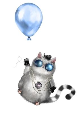 93aca330 Veggklistremerke Illustrasjon av en søt katt i rocker stil, med runde  briller og smykker.