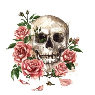 Duvar Çıkartması Insan kafatası çiçeklerle çevrili. suluboya resim