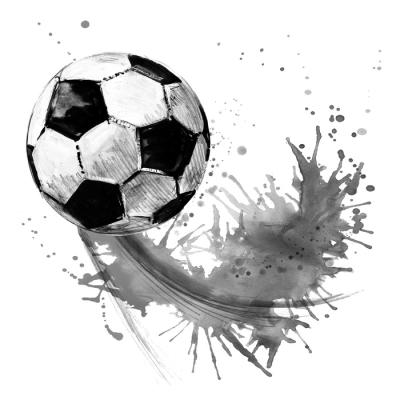 Sticker mural Ballon de football. illustration de football aquarelle dessinés à la main