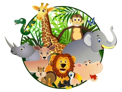 Sticker mural Dessin animé Safari