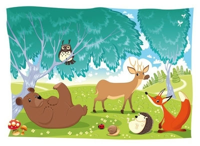 Animals in the wood. Funny cartoon and vector illustration Wall Decal