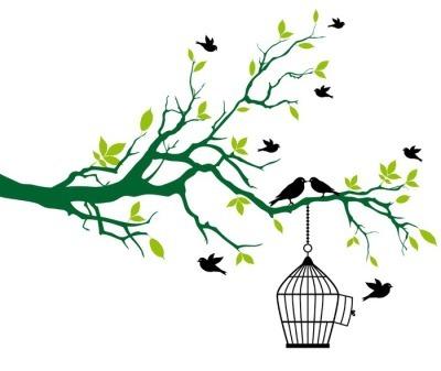 Kevät puu lintuhäkillä ja suudellen lintuja Seinätarra