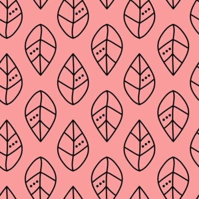 Seamless vector outline leaves pattern on pink backdrop. Design for wallpaper, fabric, textile, wrapping. Simple background Blackout Window Curtain
