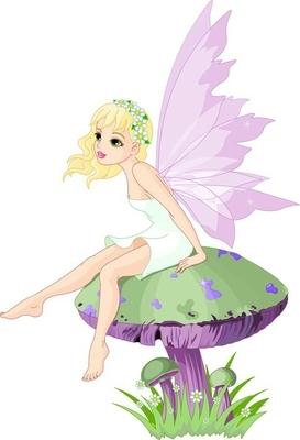 Fairy på svampen Vægklistermærke