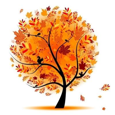 Muursticker Mooie herfst boom voor uw ontwerp
