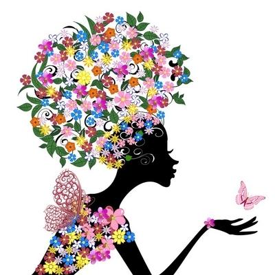 Muursticker Meisje met bloemen op haar hoofd