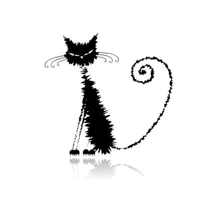 Duvar Çıkartması Tasarım için komik siyah ıslak kedi